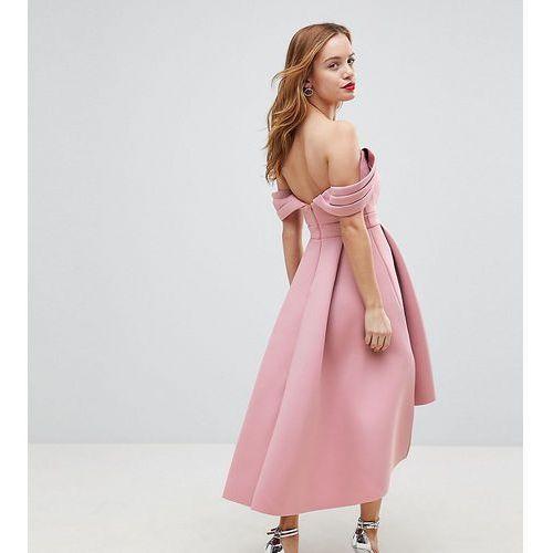 Asos petite bardot cold shoulder dip back midi prom dress - pink