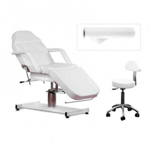 Zestaw Kosmetyczny Fotel 210 + Taboret 304 Biały + Prześcieradlo Fliselinowe