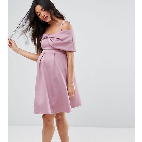 bow front off the shoulder bardot skater mini dress - purple, Asos maternity