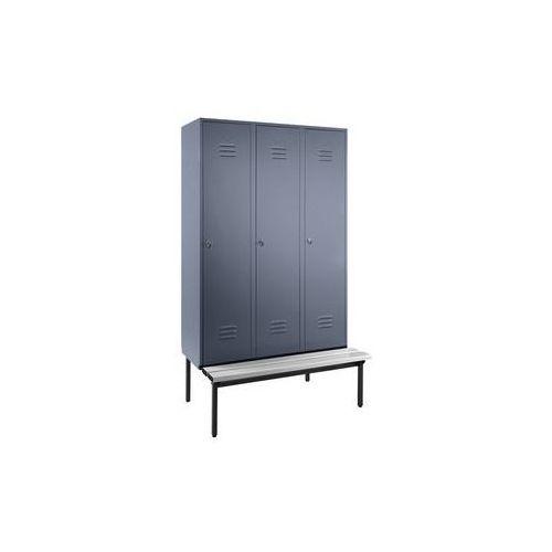 Szafka na ubrania z ławeczką u dołu,pełne drzwi, szer. przedziału 400 mm, 3 przedziały marki Eugen wolf