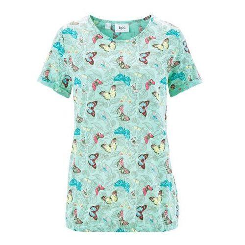 Shirt z krótkim rękawem, z przędzy mieszankowej bonprix jasny miętowy z nadrukiem, w 4 rozmiarach