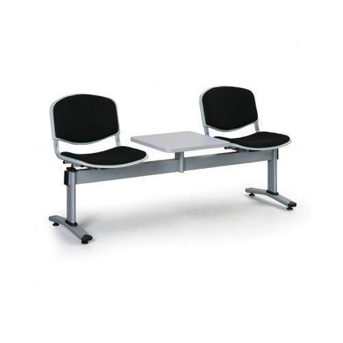 Ławka do poczekalni LIVORNO, tapicerowana 2 siedzenia + stołek, czarny