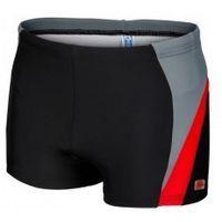 GWINNER Kąpielówki bokserki pływackie sportowe (czarny/szary/czerwony) (GW10138/1), kolor czerwony