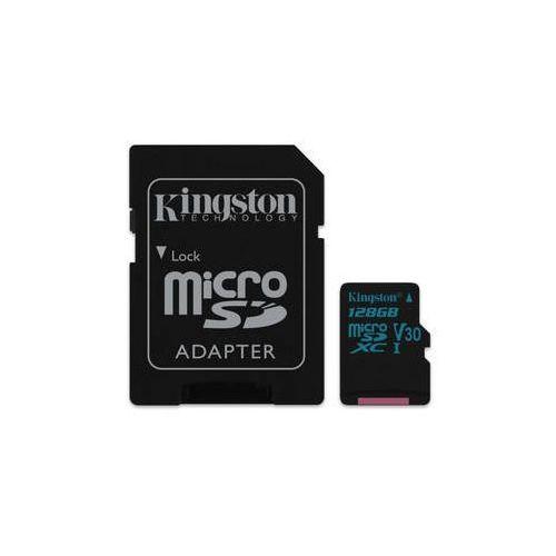 Kingston Karta pamięci canvas go! microsdxc 128gb uhs-i u3 (90r/45w) + adapter (sdcg2/128gb)