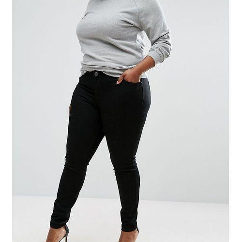 Asos design curve mid rise skinny jeans in clean black - black, Asos curve