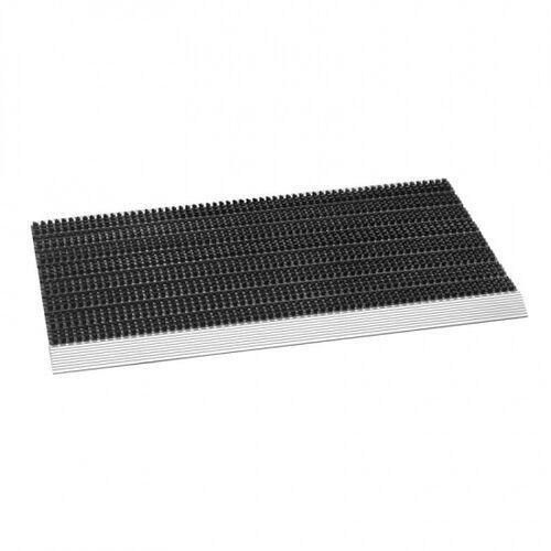 Mata czyszcząca aluminiowa, czarna, 45x75x2,3 cm z krawędzią najazdową
