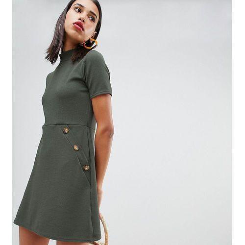 Boohoo high neck button through pocket detail dress in khaki - grey