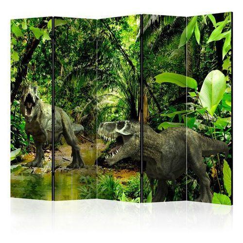 Parawan 5-częściowy - dinozaury w dżungli ii [room dividers] marki Artgeist