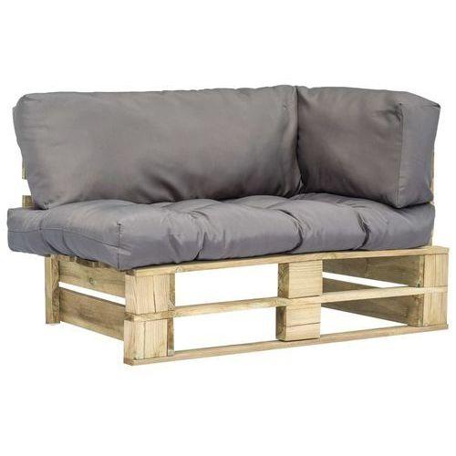 Vidaxl sofa ogrodowa z palet z szarymi poduszkami, sosnowe drewno fsc (8718475715603)