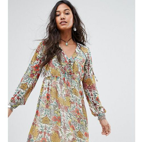 floral tie front smock dress - multi, Boohoo