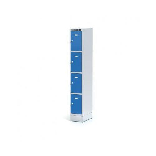 Metalowa szafka ubraniowa 4 boksy na cokole, drzwi niebieske, zamek cylindryczny