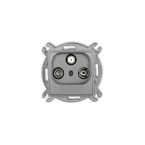 Gniazdo antenowe Karlik Mini 7MGSP RTV-SAT przelotowe 10dB srebrny metalik (5903268585171)