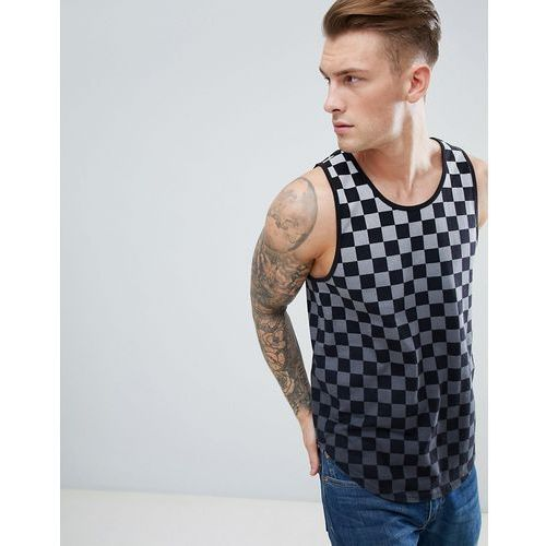 Hollister Ombre Checkerboard Vest Seagull Logo in Black to Grey - Grey