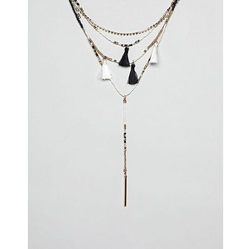River Island necklace with double layer chains and tassel detail - Black