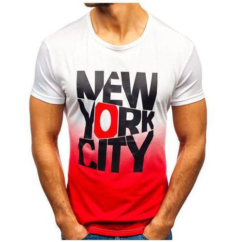 T-shirt męski z nadrukiem biało-czerwona Denley KY37