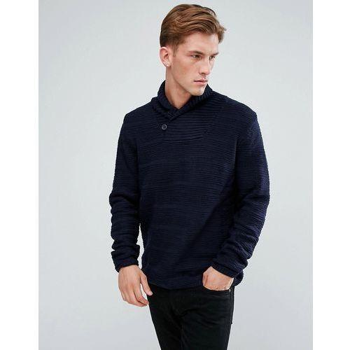 Bellfield textured shawl collar jumper - navy