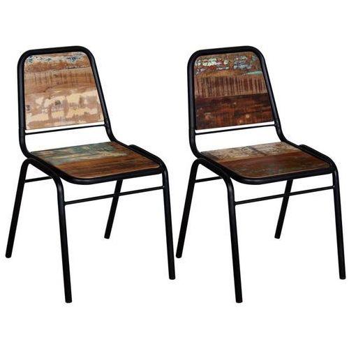 Dwa krzesła jadalniane z drewna z odzysku 44 x 59 x 89 cm