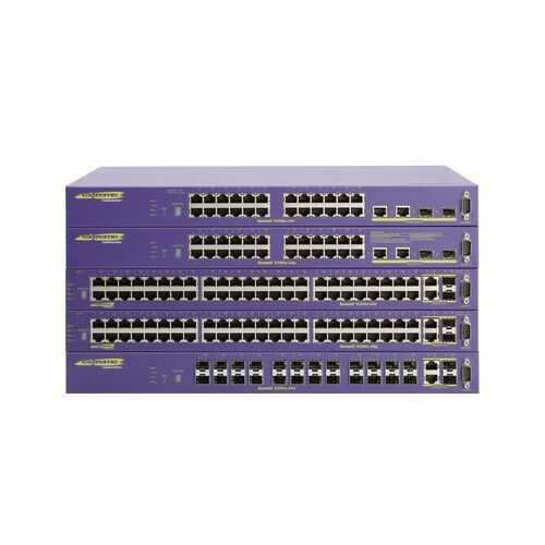 SWITCH EXTREME NETWORKS SUMMIT X250e-48p 48 10/100BASE-TX with PoE, 2 gigabit combo ports (2 unpopulated gigabit SFP and 10/100/1000BASE-T), 2 SummitStack stacking ports, ExtremeXOS Edge License, 1 AC PSU, connector for EPS-C external redundant power system chassis (requires EPS-600LS