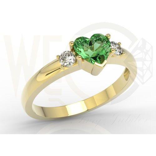 Pierścionek z żółtego złota z zielonym topazem w kształcie serca i diamentami JP-90Z