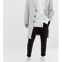 Noak black skinny fit cropped trouser with turn up in red check - Red, kolor czerwony