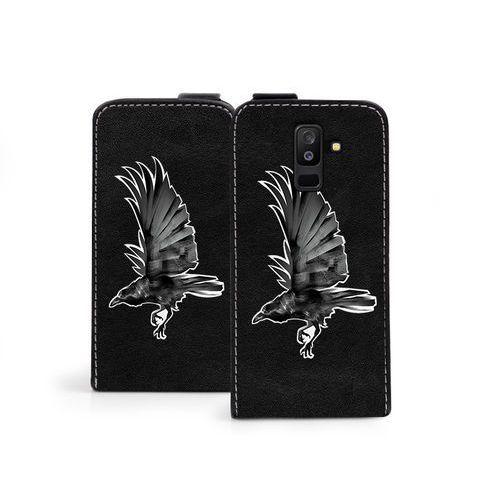 Samsung Galaxy A6 Plus (2018) - etui na telefon Flip Fantastic - czarny kruk, kolor czarny