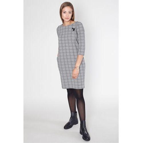 Sukienka na co dzień w czarno-białą kratę - Click Fashion, kolor czarny