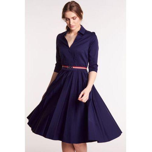 2c3805d976 Gapa fashion Granatowa sukienka z kołnierzykiem