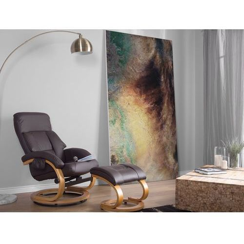 Beliani Krzesło biurowe brązowe z podnóżkiem skóra ekologiczna funkcja masażu force