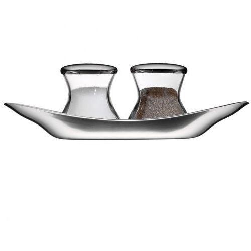 - wagenfeld zestaw solniczki i pieprzniczki na tacy wymiary: 17 x 4,5 cm marki Wmf