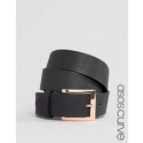 ASOS CURVE Leather Rose Gold Buckle Waist And Hip Belt - Black - produkt z kategorii- Pozostałe