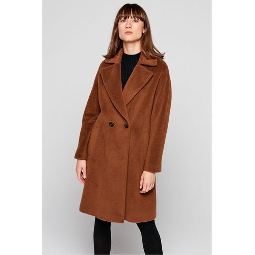 Płaszcz z wełny dziewiczej - Patrizia Aryton, kolor brązowy