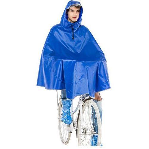 Peleryna Płaszcz ponczo przeciwdeszczowe rowerowa niebieska z daszkiem