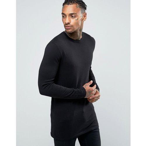 Asos longline crew neck jumper in black cotton - black