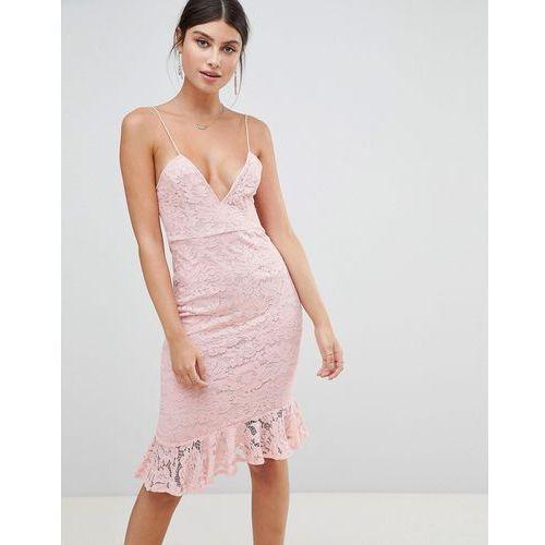 cami lace ruffle hem midi dress - pink, Prettylittlething