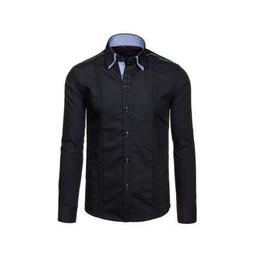 Czarna koszula męska elegancka z długim rękawem denley 4780, By mirzad