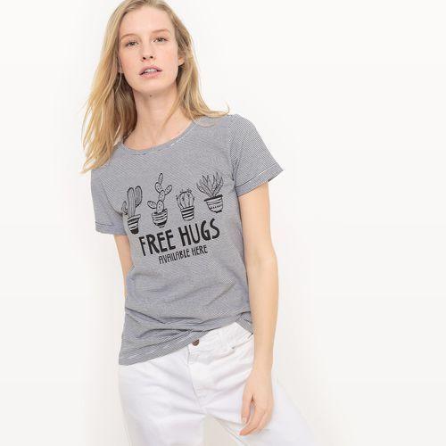R édition T-shirt w paski z nadrukiem kaktusa