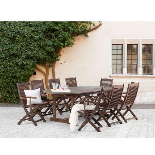 Meble ogrodowe  brązowe  ogród – taras  stół + 8 foteli