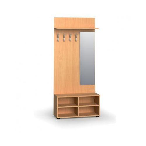 B2b partner Garderoba z półką na buty i lustrem, 4 haczyki, półka, buk