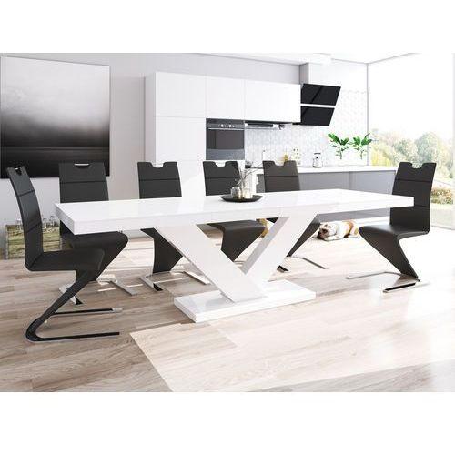 Biały rozkładany stół w wysokim połysku victoria marki Hubertus