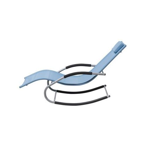 Beliani Leżak niebieski tekstylny bujany carano
