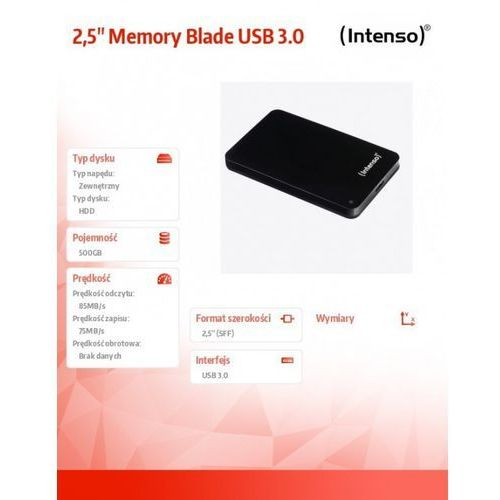 500gb 2.5'' hdd usb 3.0 zewnętrzny memoryblade czarny darmowa dostawa do 400 salonów !! marki Intenso