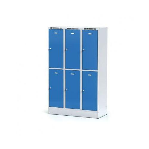 Metalowa szafka ubraniowa 6-drzwiowa na cokole, drzwi niebieske, zamek obrotowy marki Alfa 3
