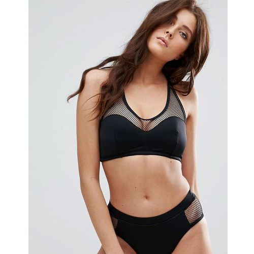 Pour Moi Glamazon Mesh Half Pad Underwire Halter Bikini Top B-F Cup - Black, kolor czarny