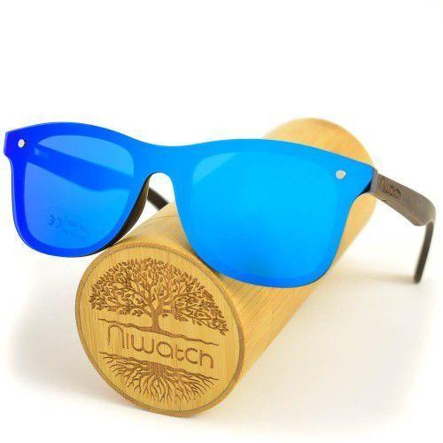 Drewniane okulary przeciwsłoneczne Niwatch Orion Blue Mirror (5907614691042)