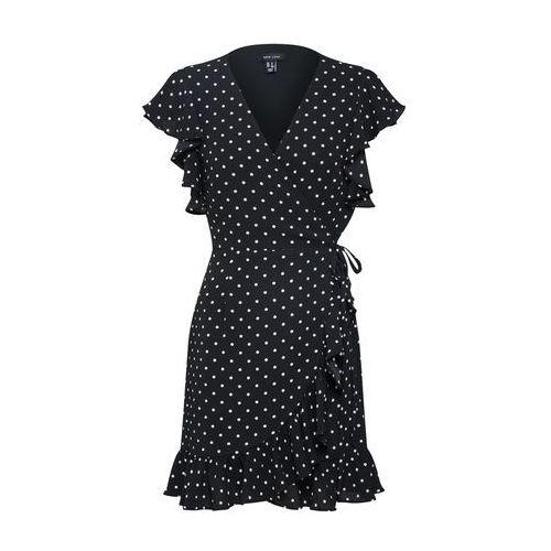 sukienka 'f polka dot ruffle wrap' czarny / biały marki New look