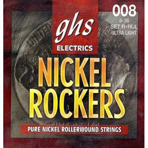 nickel rockers struny do gitary elektrycznej, ultra light,.008-.038, rollerwound marki Ghs