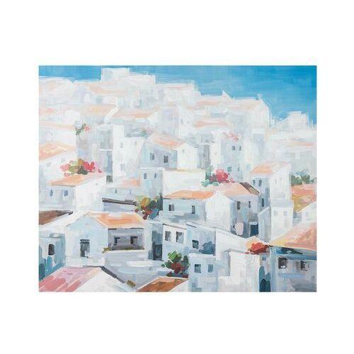 Vente-unique Obraz olejny oia - konstrukcja z drewna sosnowego - 100x80 cm - kolor niebieski i biały