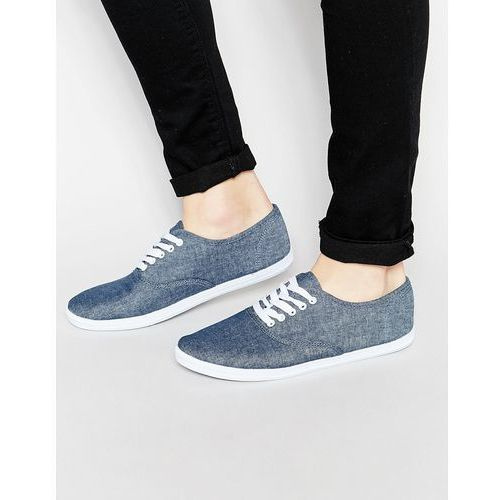 ASOS Oxford Plimsolls in Blue Chambray - Blue