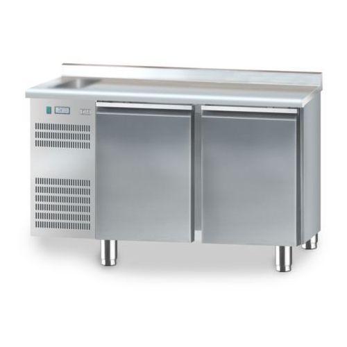 Stół chłodniczy 2-drzwiowy ze zlewozmywakiem, 1325x600x850 mm | DORA METAL, DM-91002.0.0
