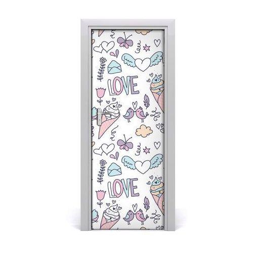 Naklejka na drzwi samoprzylepna Romantyczny wzór